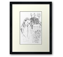 Angelica by the Tulips Framed Print