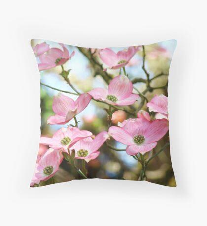 Trees Pink Dogwood Tree Flowers art Baslee Troutman Throw Pillow
