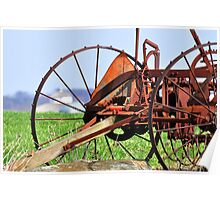 Hay rake and round barn in Madison TWP, OH Poster