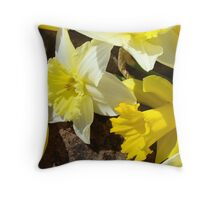 Rock Garden Yellow Daffodil Flowers art Baslee Troutman Throw Pillow