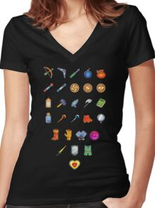 Zelda Inventory Women's Fitted V-Neck T-Shirt