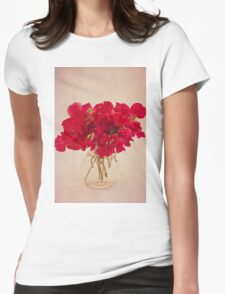 Red Sweet Pea Bouquet Womens Fitted T-Shirt