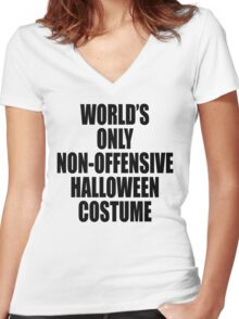World's only non-offensive Halloween costume Women's Fitted V-Neck T-Shirt