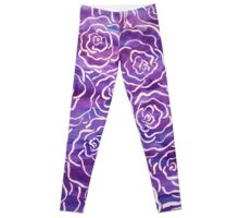Abstract Roses- Purple Leggings