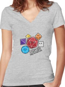 Polyhedral Pals - Rollin With My Homies - D20 Gaming Dice Women's Fitted V-Neck T-Shirt
