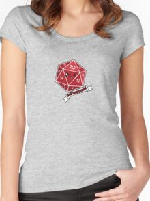 Polyhedral Pals - Crit Happens - D20 Gaming Dice Women's Fitted Scoop T-Shirt