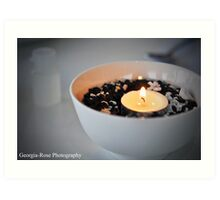 Bowl with candle.  Art Print