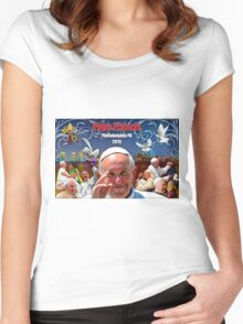Pope Francis 2015 Philadelphia Visit-night skyline background Women's Fitted Scoop T-Shirt
