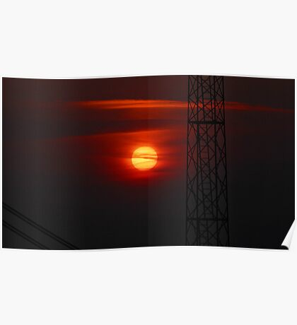 Veiled red sun Poster