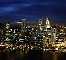 Singapore City Skyline Sunset Circa 2011 by wilswong