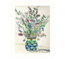 Wild Flowers in Mexican Vase Art Print