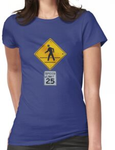 Pedestrian Crossing Womens Fitted T-Shirt