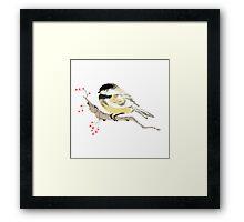 Black capped Chickadee ( Poecile atricapillus) (Chinese brush art) Framed Print