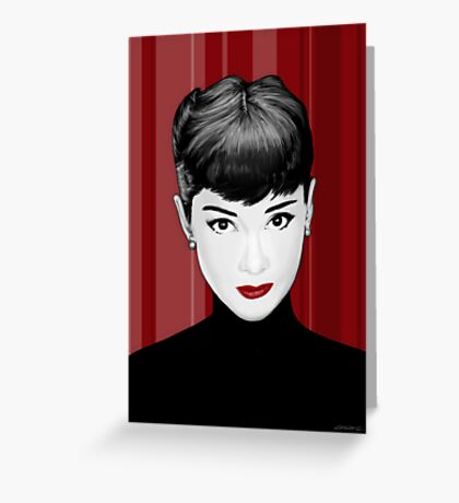 Audrey Hepburn on red background Greeting Card