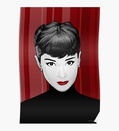 Audrey Hepburn on red background Poster