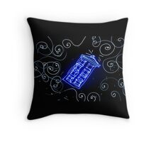Dr Who Tardis painted with LED light Throw Pillow
