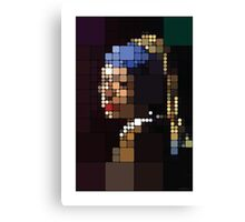 Girl with a Pearl Earring Pixelated Canvas Print