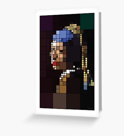 Girl with a Pearl Earring Pixelated Greeting Card