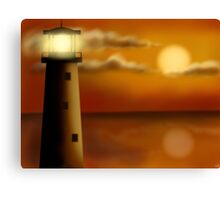 Lighthouse in the evening Canvas Print