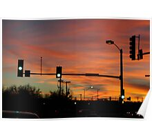 Stop light sunset  Poster