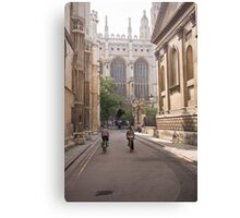 Cambridge Cyclists approaching Kings College Canvas Print
