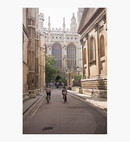 Cambridge Cyclists approaching Kings College Photographic Print