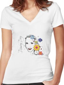 Drawing Day Self Portrait Women's Fitted V-Neck T-Shirt