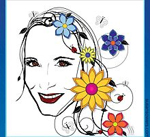 Nature Girl with flowers, butterflies & ladybugs by Susan Sowers