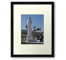 Statue and Mason, Croatia Framed Print