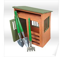 Garden Shed with Tools Poster