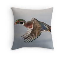 Wood Duck fly-by - Ottawa, Canada. Throw Pillow