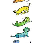 Watercolor Dachshunds by Leslie Evans
