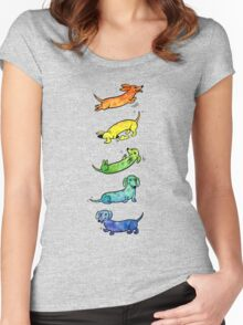 Watercolor Dachshunds Women's Fitted Scoop T-Shirt