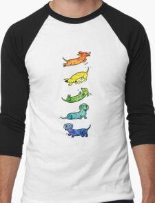 Watercolor Dachshunds Men's Baseball ¾ T-Shirt