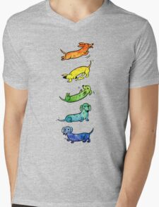 Watercolor Dachshunds Mens V-Neck T-Shirt