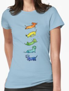 Watercolor Dachshunds Womens Fitted T-Shirt