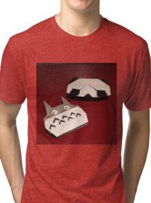 Totoro and panda origami Tri-blend T-Shirt
