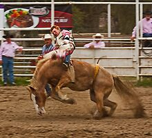 Rodeo - A Redheaded Cowboy Hangs on Waiting for the Buzzer by Buckwhite