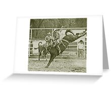 Cowboy Rides a High Kicking Bronco Greeting Card