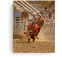 Rodeo Cowboy Riding a Bull Canvas Print