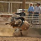 Contortionist Bull Trying to Throw Its Rider by Buckwhite