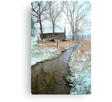 BARN,WINTER (Passed into time, this photo holds the memory) Canvas Print