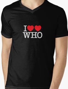 I ♥♥ WHO (dark) Mens V-Neck T-Shirt