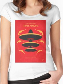 No285 My Three Amigos minimal movie poster Women's Fitted Scoop T-Shirt
