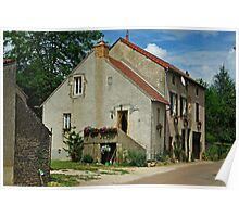 French Village Farmhouse with Dish Poster