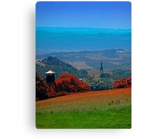 A hunting perch, a village and some vivid scenery Canvas Print