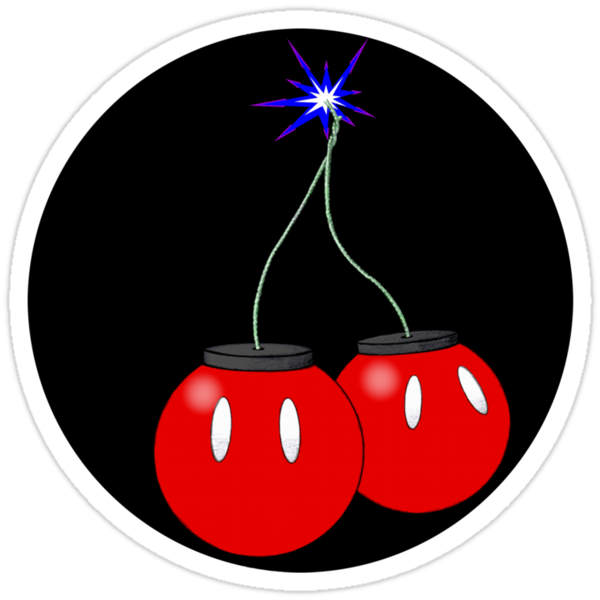 Cherry Bob Omb sticker on black by Yoshimiah