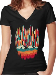 Sunset in Vertical  Women's Fitted V-Neck T-Shirt