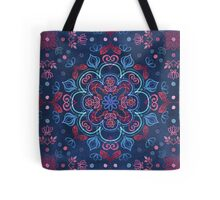 Cherry Red & Navy Blue Watercolor Floral Pattern Tote Bag