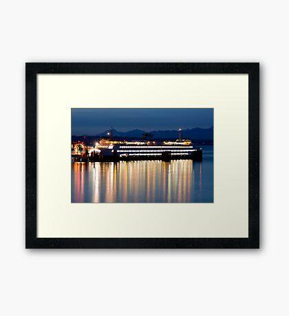 Washington State Ferry At Dusk Framed Print